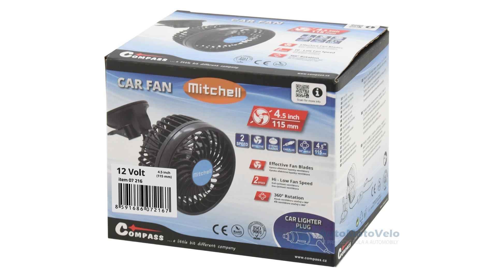 00db4ff5d Ventilátor MITCHELL 115mm 12V na přísavku - AutoMotoVelo – vše pro ...